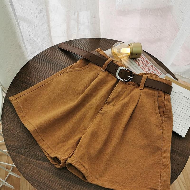 Vintage High Waist Shorts Women 2020 Summer Wide Leg Streetwear With Sashes Korean Style Brown Beige White Black Short Pants