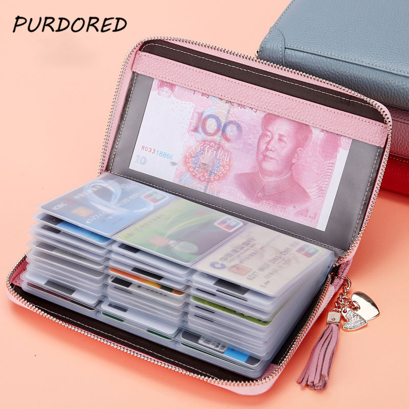 PURDORED 1 Pc 20/60 Bits  Solid Color Card Holder Case Women ID Credit Passport Cover Tassel Cards Wallet Document Bag Carteira