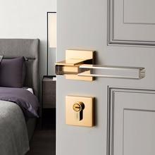 Modern Crystal texture Mute Room Door Lock Handle Fashion Interior Door Lock Anti-theft Gate Lock Furniture Hardware