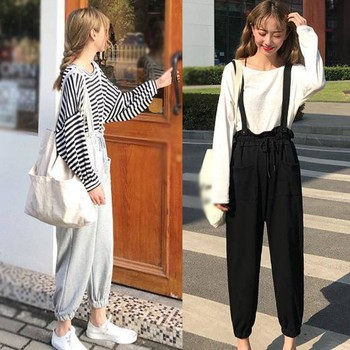 Spring Summer Fashion Youth Loose Lacing Casual Overalls
