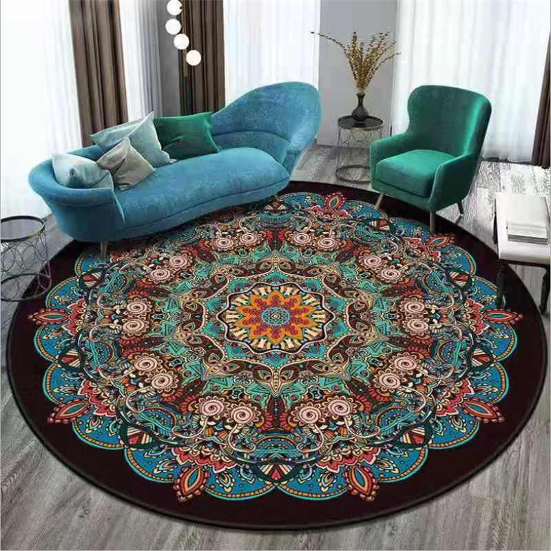 Carpets For Living Room Ethnic Style Vintage Mandala Flower Pattern Round Carpet Rugs For Children Rooms 100% Polyester