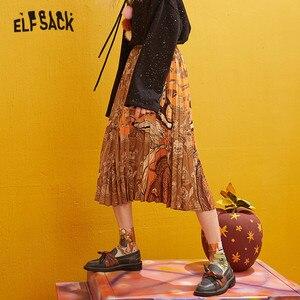 Image 2 - ELFSACK Fuchs Gedruckt Hohe Taille Gefaltete Röcke Frauen 2019 Winter Neue Mode EINE Linie Dünne Büro Damen Tägliche Lange Rock