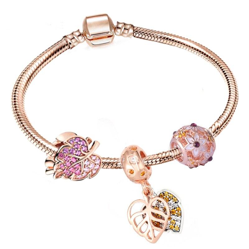BRACE CO European Heart-shaped Pendant Charm Bracelet Fit Women's Jewellery Snake Chain Rose Gold Metal Fashion Fine Bracelets 4