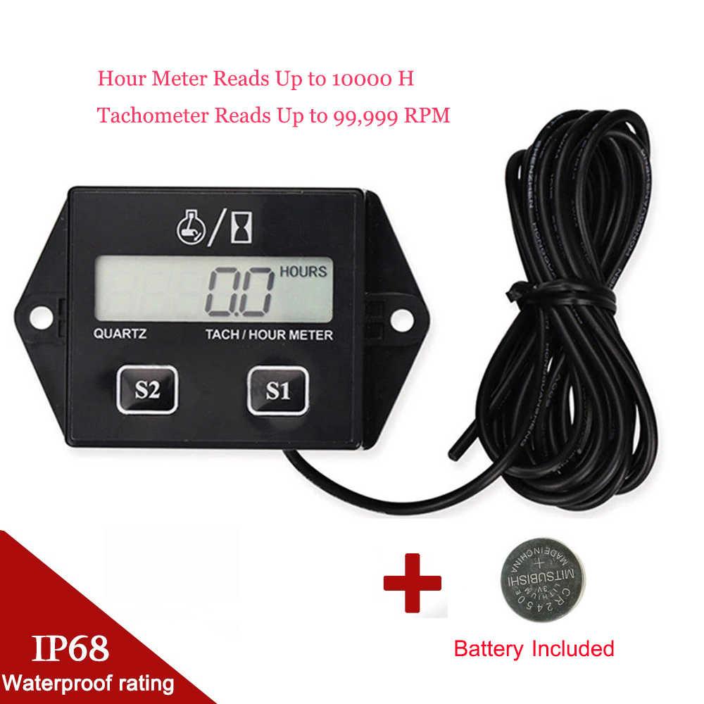 Digital Engine Tach Jam Meter Tachometer Gauge Induktif Tachometer untuk Tempel Pit Sepeda Perahu Tahan Air Motor Meter Timer