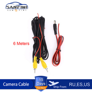 RCA 6m Video Cable For Car Rear View Camera Universal 6 Meters Wire For Connecting Reverse Camera With Car Multimedia Monitor(China)
