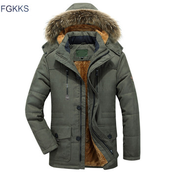 FGKKS Winter Brand Men Solid Color Parkas Men's Cotton Multi-Pocket Jacket Plus velvet Thick Military Parka Male
