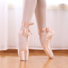 Professional Ballet Pointe Shoes Canvas Satin Pink Black Red Ballerina  For Dancing Performance With Toe Pad