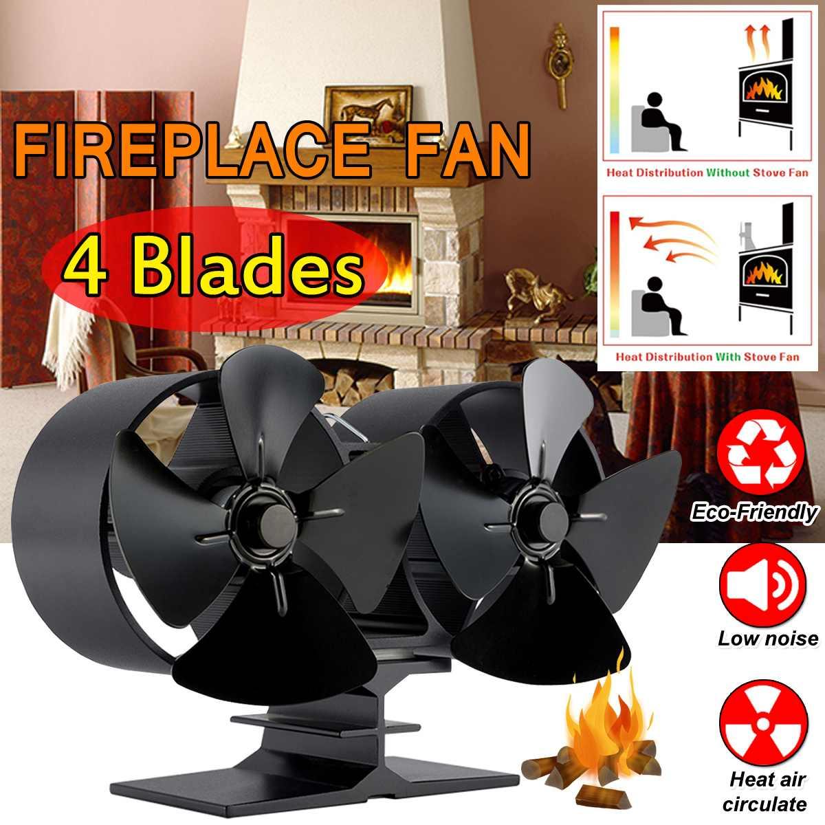 Single/Double New Head Black Stove Fan 4 Blade Fireplace Fan Heat Powered Wood Burner Efficient Quiet Home Heat Distribution