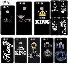 EWAU King Queen Couple Lovers Silicone phone case for Huawei P8 P9 P10 P20 P30 Pro Lite Mini P Smart Z Plus(China)