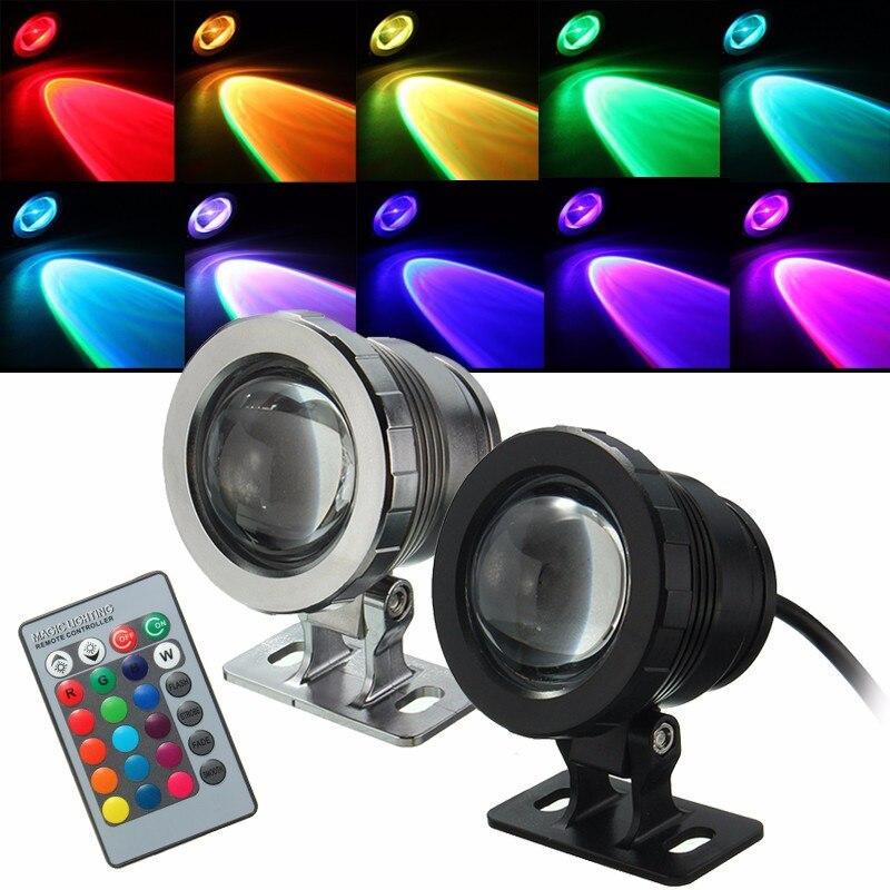 IP68 Impermeabile RGB LED Subacquea Sommergibile Spotlight Paesaggio Lampada con Telecomando di Controllo per il Nuoto Piscina AC85-265V/DC12V
