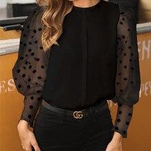 Женская модная блуза с длинным рукавом из прозрачной сетки, сексуальные топы с рукавом-фонариком, винтажная мешковатая блузка с рукавом в горошек, рубашки с круглым вырезом