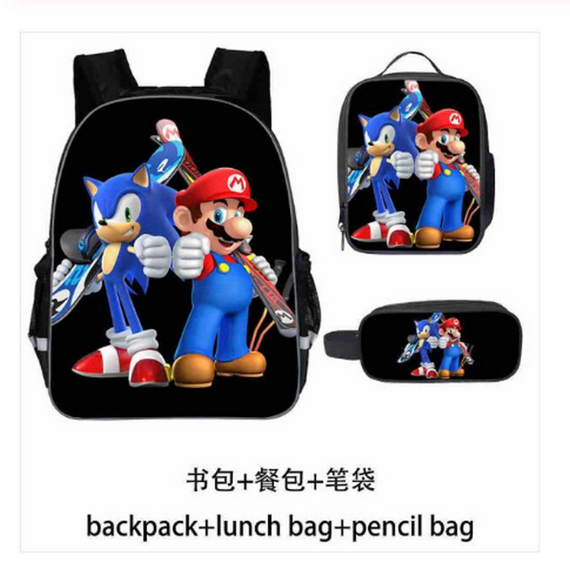 High Quality SONIC RACING Rucksack Students School Bags Surprise Gift School Backpack (3pcs / Backpack+pencil Case)