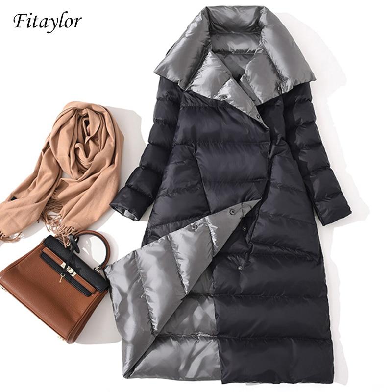 Fitaylor женский Двухсторонний пуховик Длинная Куртка зимняя водолазка белый утиный Пуховик двубортный Теплый пуховик зимняя верхняя одежда
