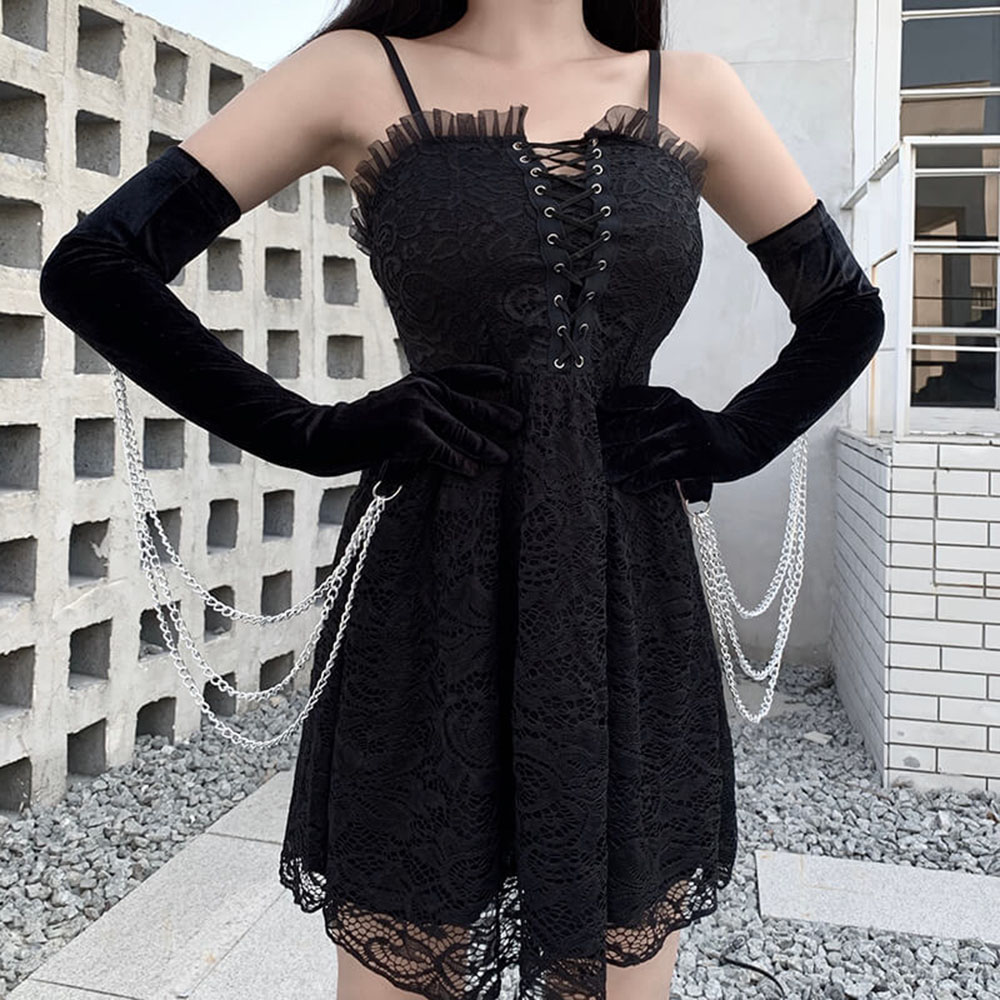 Full Finger Elegant Women Black Gloves Winter Warm Mittens Metal Chain Gothic Party Sexy Solid Long Mittens