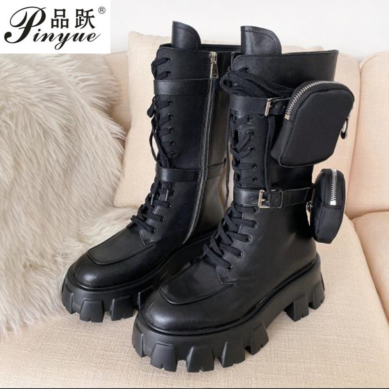 2020 Latest Style New Arrival Pocket Motorcycle Boots Handsome Lace Up Thick-soled Black Military Shoes Half Boots
