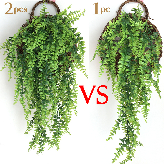Artificial Plant Vines Wall Hanging Rattan Leaves Branches Outdoor Garden Home Decoration Plastic Fake Silk Leaf Green Plant Ivy 2