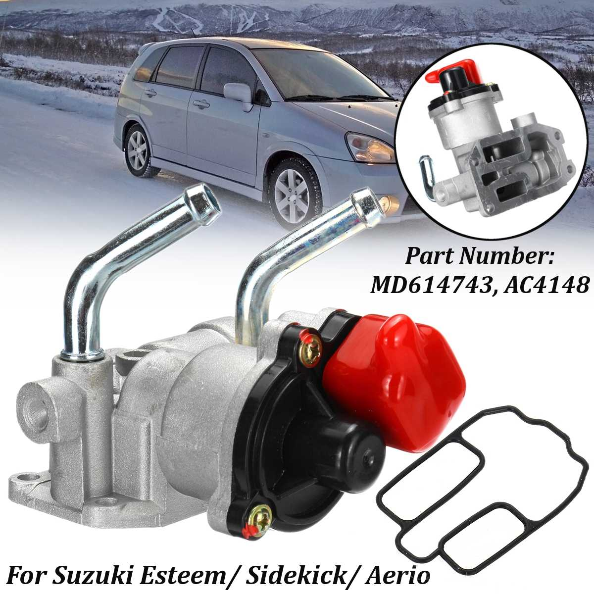 MD614743 AC4148 Idle Air Control Valve With Gasket 6 Pin For Suzuki Esteem Sidekick Aerio for Mitsubishi Mirage