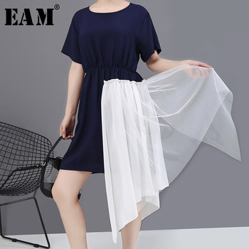 [EAM] Women Blue Mesh Irregular Split Big Size Dress New Round Neck Short Sleeve Loose Fit Fashion Tide Spring Summer 2020 1W334