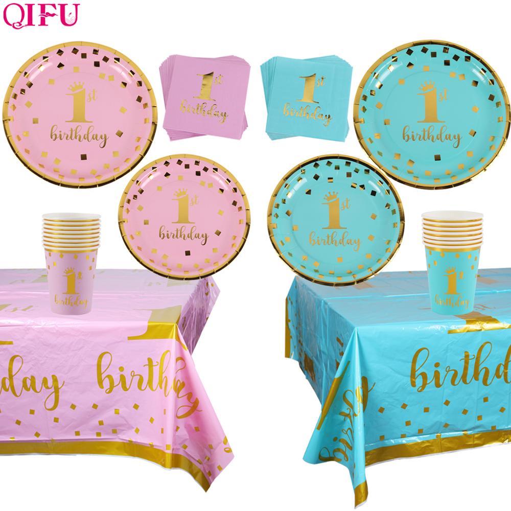 QIFU Pink Blue Disposable Tableware 1st Birthday Party Decor Kids Happy Birthday Banner One Year First Birthday Boy Baby Shower