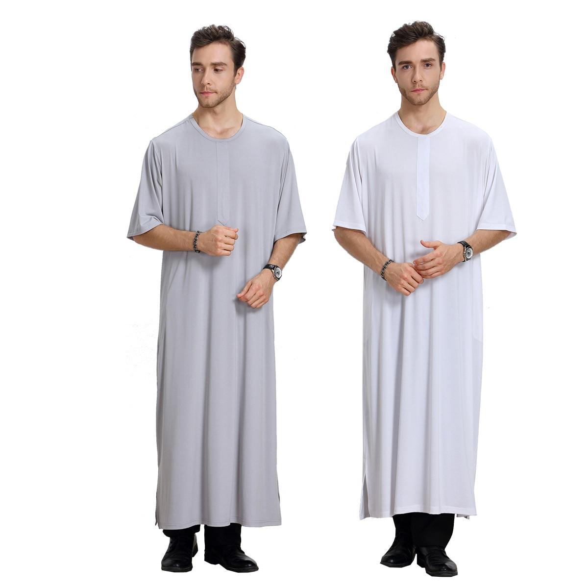 Malaysia Muslim Arab Middle East Capri Crew Neck MEN'S Robe Muslim Formal Dress Th807