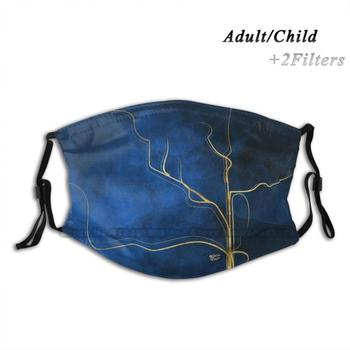 Kintsugi Electric Blue #Blue #Gold #Kintsugi #Japan #Marble #Watercolor #Abstract Print Reusable Mask Pm2.5 Filter Trendy Mouth image