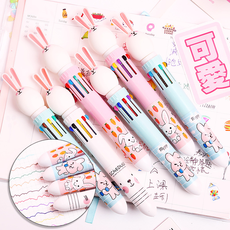 Cute Rabbit Ten Color Ball Point Pen. Creative Fairy Multi Color Bullet Point Pen Student Stationery