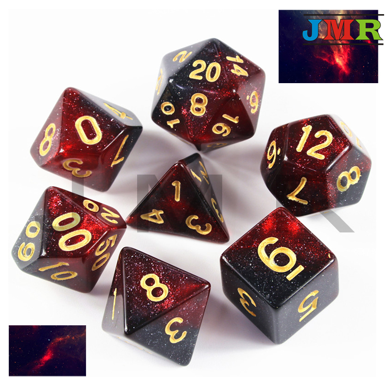 Hot New  6 Color Creative Universe Galaxy Dice Set Of D4-D20 With Mysterious Royal Glitter Powder  For DND RPG As Gift