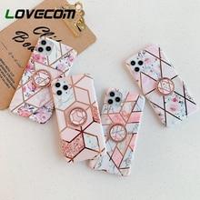 Funda de mármol geométrico chapado Vintage LOVECOM para iPhone 11 Pro Max 7 8 Plus X con soporte de anillo IMD suave funda trasera del teléfono