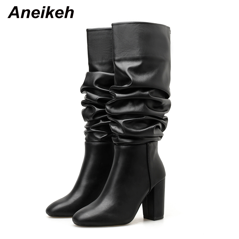 Aneikeh 2020 Spring/Autumn Classic PU Pleated Women Riding, Equestrian Boots Round Toe High Heels Shoes Slip-On Knee-High Boots