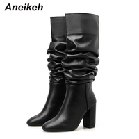 Aneikeh 2020 Spring/Autumn Classic PU Pleated Women Riding, Equestrian Boots Round Toe High Heels Shoes Slip On Knee High Boots