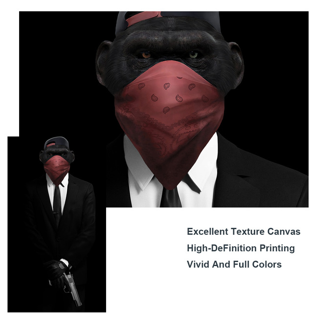 Masked Monkey Holding a Gun Canvas Art Posters And Prints Modern Animals Wall Art Pictures Monkey in a Suit Canvas Paintings