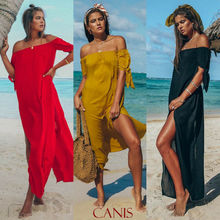 Hirigin Sexy Off Shoulder Women Tunic Beach Dress Swim Suit Short Sleeve Solid Cover Up Summer Maxi Split Dresses Swimsuits