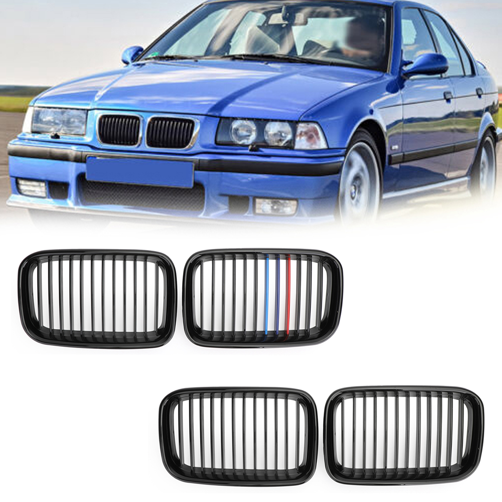 NEW BMW 3 SERIES E36 1996-1998 FRONT KIDNEY GRILL CHROME PAIR SET RIGHT LEFT