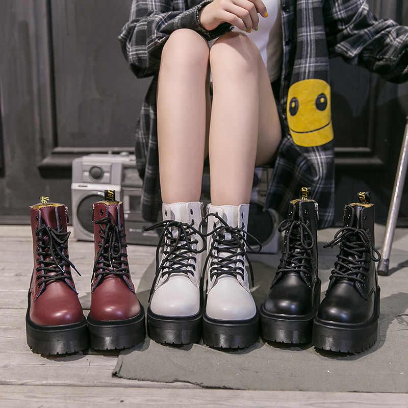 Kalın alt kadın botları Martin çizmeler platform ayakkabılar yarım çizmeler kadınlar için kış Boots motosiklet ayakkabı kadın patik