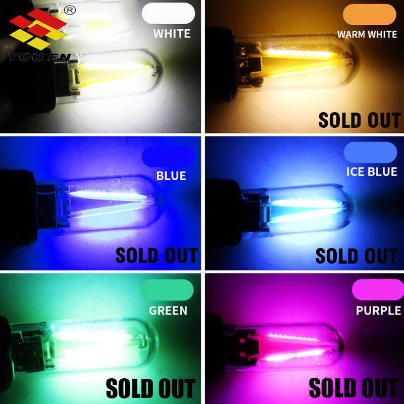 Youen T10 194 2825 W5W Filamen Lampu LED Tongkol Kaca Shell Wedge Parkir Mobil Lampu CANBUS Ada Kesalahan Baca Mobil dome Lampu 12V DC