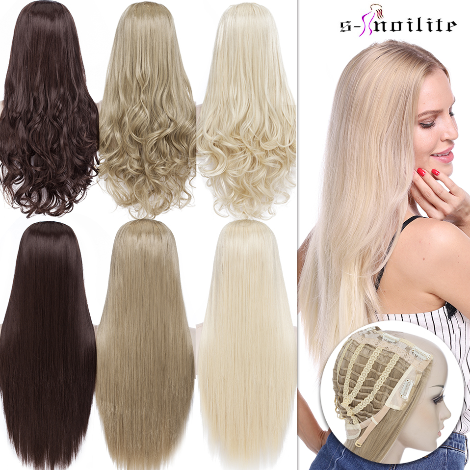 SNOILITE 24inch U Part Clip In One Piece Hair Extension Women Invisible 3/4 Half Wig Brown Long Wavy Natural Synthetic Hairpiece