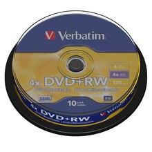 Verbatim DVD + RW 4.7GB 10pk wrzeciono 4x markowe płyty wielokrotnego zapisu kompaktowe przechowywanie danych DVD 43488