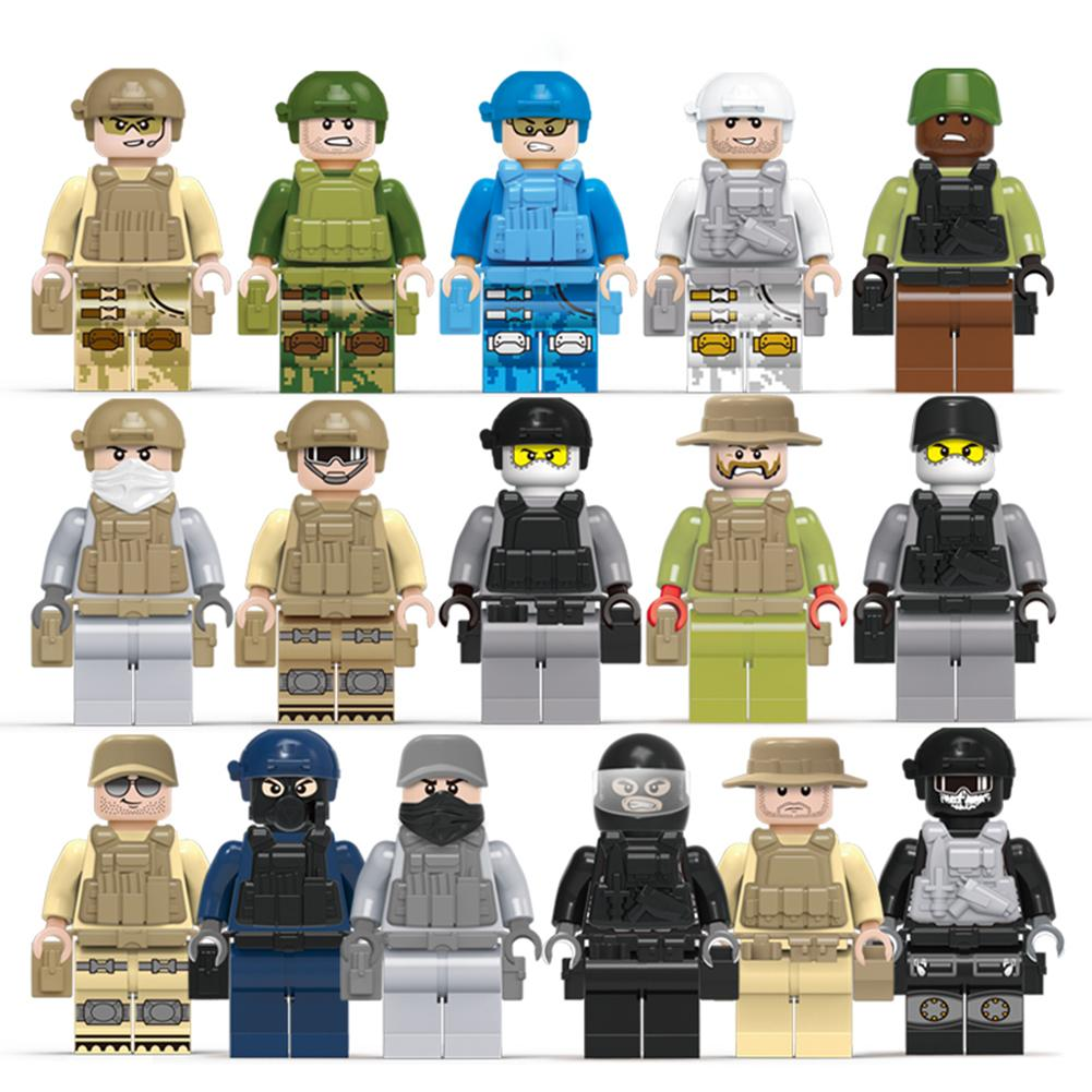 16 Types Military Army Soldiers Building Block Educational Assembled Legoings Military Armed SWAT Bricks Toys For Children
