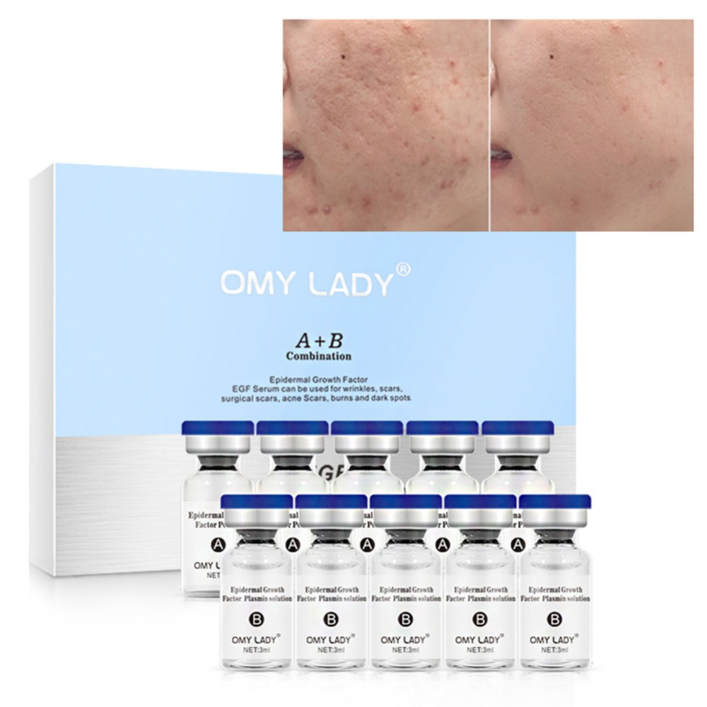 Epidermal Growth Factor Powder Plasmin Solution Set Lightening Pigment Brighten Skin Tone Scars Repair Kit