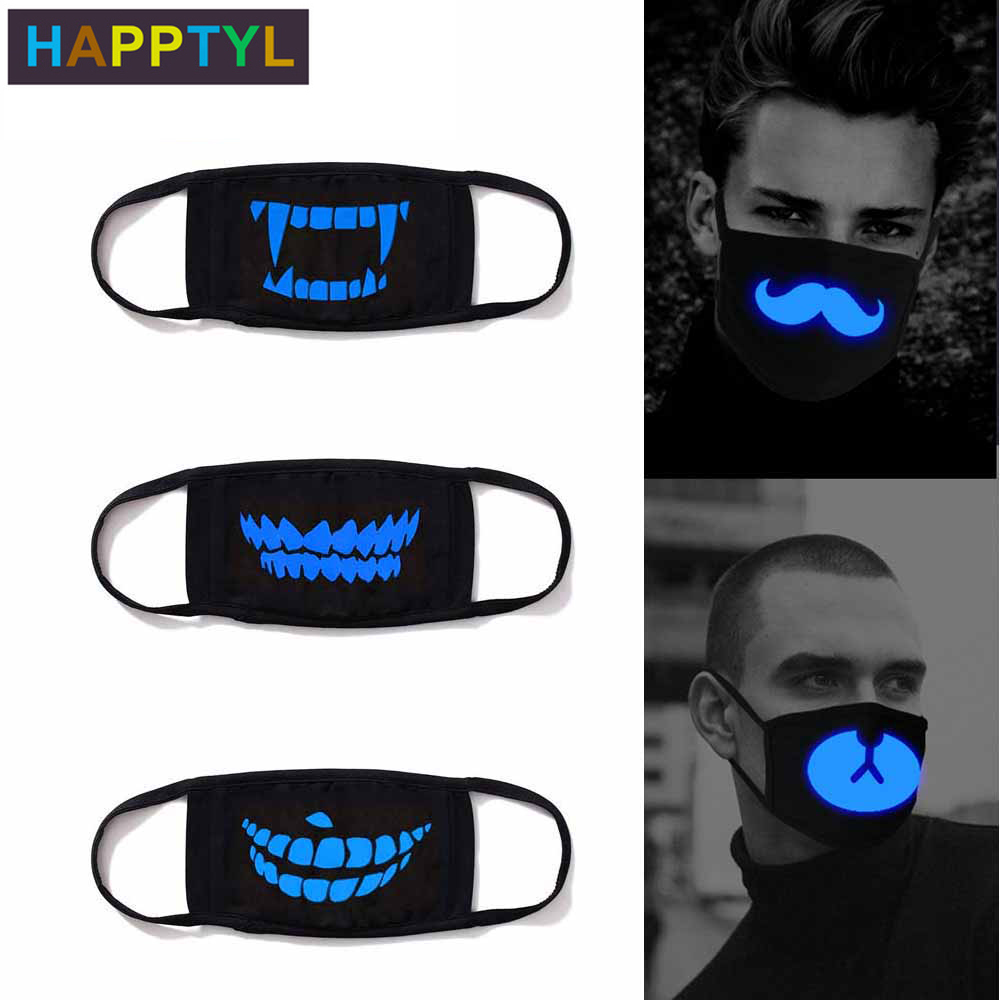 HAPPTYL Luminous Cotton Unisex Anti-dust Black Mouth Mask Cover With Glowing Blue Vampire Teeth Print For Men Women Boys Girls