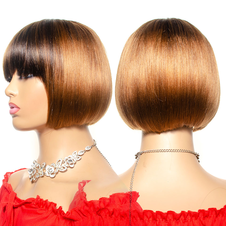 Short Human Hair Wigs Remy Indian Hair Bob Wig 130% Density Ombre T4/30 Full Machine Wig Pixie Cut Short Wigs For Black Women