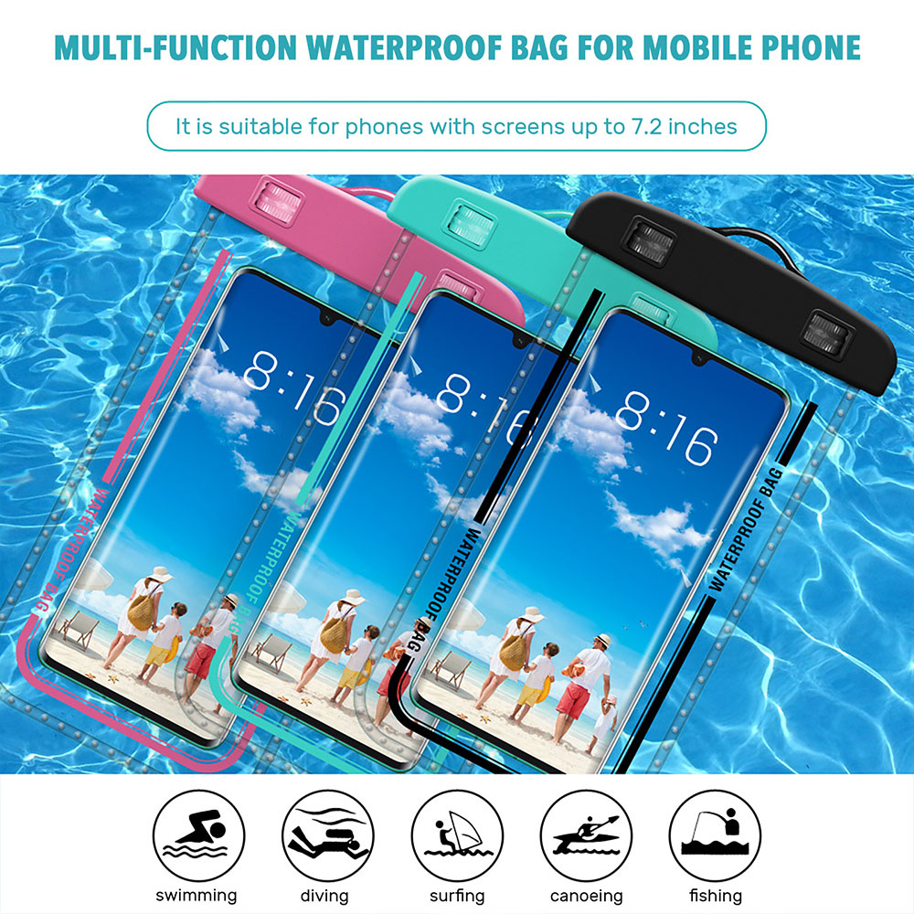 H04c6d355a7b248ff8608319acd58da109 - Waterproof Phone Pouch Drift Diving Swimming Bag Underwater Dry Bag Case Cover For Phone Water Sports Beach Pool Skiing 6 inch