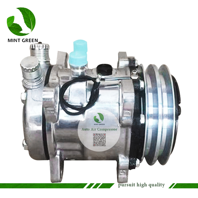 Sanden 505 SD505 5h14 Auto AC Compressor for Tractor Excavator Heavy Duty Truck 12V / 24V 2 Groove V Blet Pulley