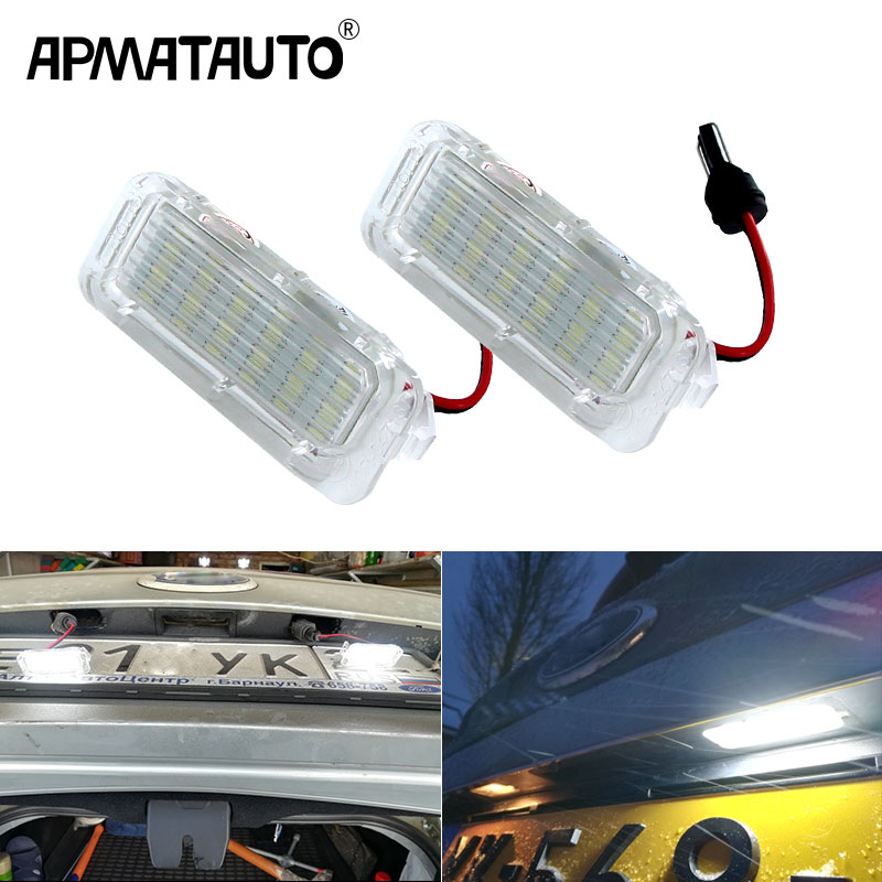 2pcs 6000K White Error Free Car LED Number License Plate Light For Ford Focus 5D Fiesta Mondeo MK4 C-Max MK2 S-Max Kuga
