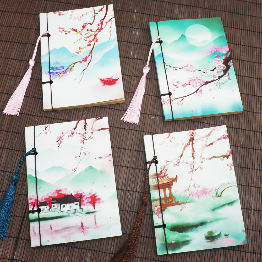 Original A6 Craft Blank Pages Notebook, Small Portable Stitching Vintage Planner Beautiful Diary Gift Book