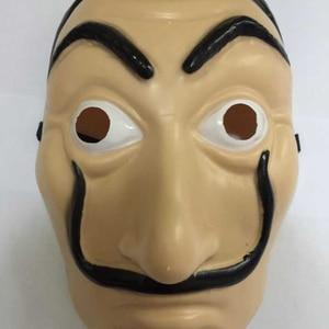 Image 4 - wholesale 20pcs/lot Plastic Dali mask La Casa De Papel Cosplay Props Halloween Yacht Carnival Dance Party Face Shield