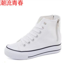 2020 New Spring summer Woman High Platform Canvas Shoes lace up Casual Flats white Side zipper Canvas increased Woman Shoes cheap NoEnName_Null Appliques Solid Adult Spring Autumn High (5cm-8cm) Lace-Up Fits true to size take your normal size Woman Casual Shoes