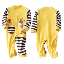 Spring Autumn Casual Jumpsuits Baby Striped Cartoon Printing Long Sleeve Rompers Kids Clothes