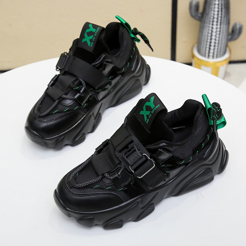 2020 Women Wedged Shoes Spring Sneakers Black Chunky Vulcanize Shoes Platform Sport Casual Shoes Plus Size 41 42 Women Sneakers 3