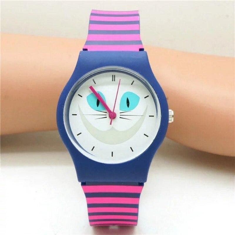 New Women Cartoon Casual Waterproof Kids Watches Fashion Quartz Brand Sports Leisure Cats Patterns Plastic Wristwatch